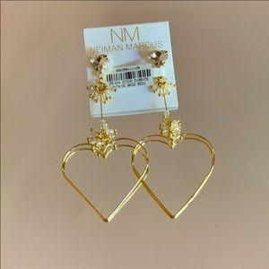 ✨💛 Neiman Marcus Wire Heart Dangle Earrings 💛NWT